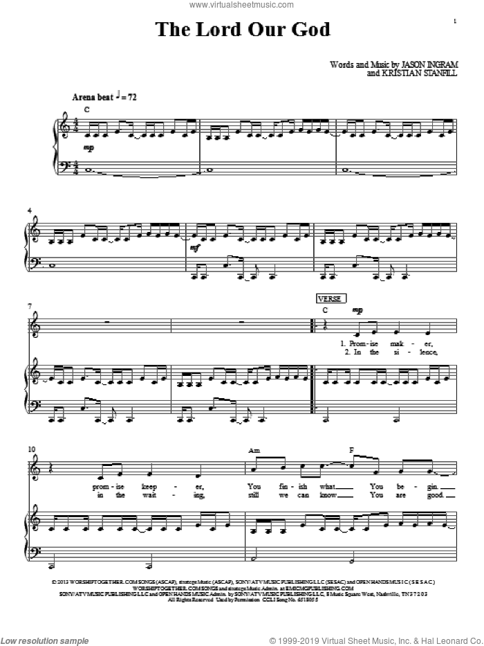 The Lord Our God sheet music for voice, piano or guitar by Passion, intermediate skill level