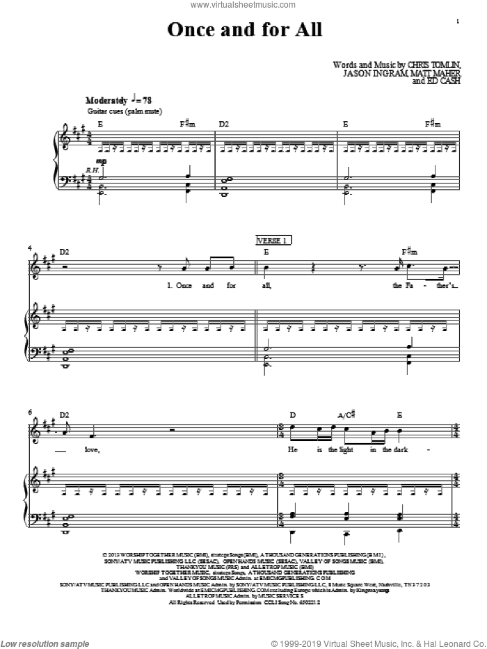 Once And For All sheet music for voice, piano or guitar by Passion. Score Image Preview.
