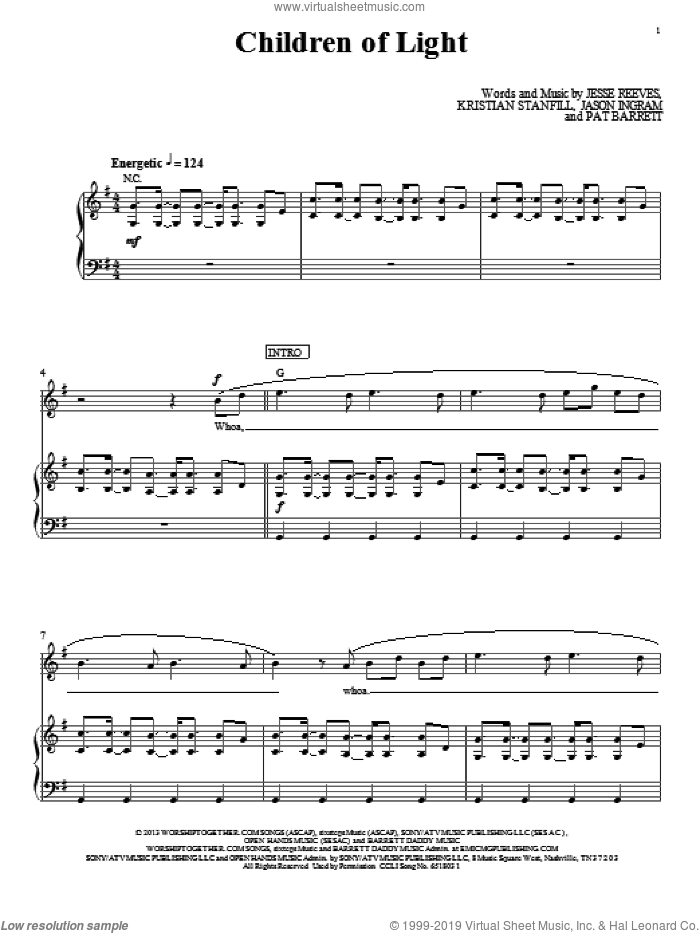 Children Of Light sheet music for voice, piano or guitar by Passion. Score Image Preview.