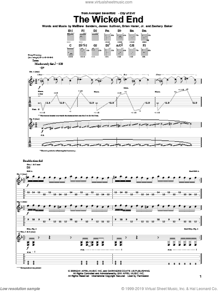 The Wicked End sheet music for guitar (tablature) by Avenged Sevenfold, Brian Haner, Jr., James Sullivan, Matthew Sanders and Zachary Baker, intermediate skill level