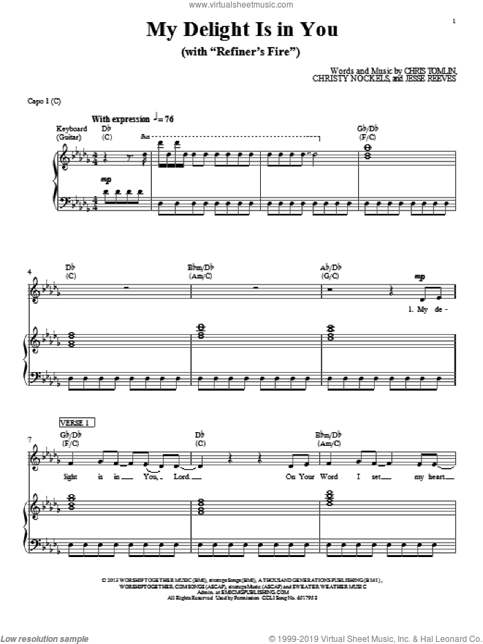 My Delight Is In You sheet music for voice, piano or guitar by Passion, intermediate