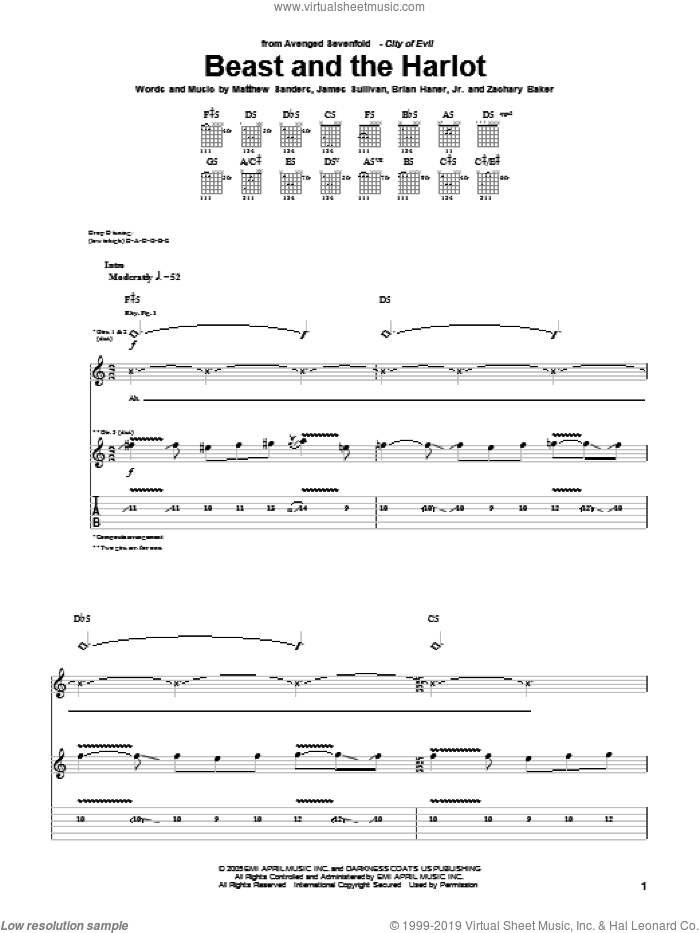 Beast And The Harlot sheet music for guitar (tablature) by Avenged Sevenfold. Score Image Preview.