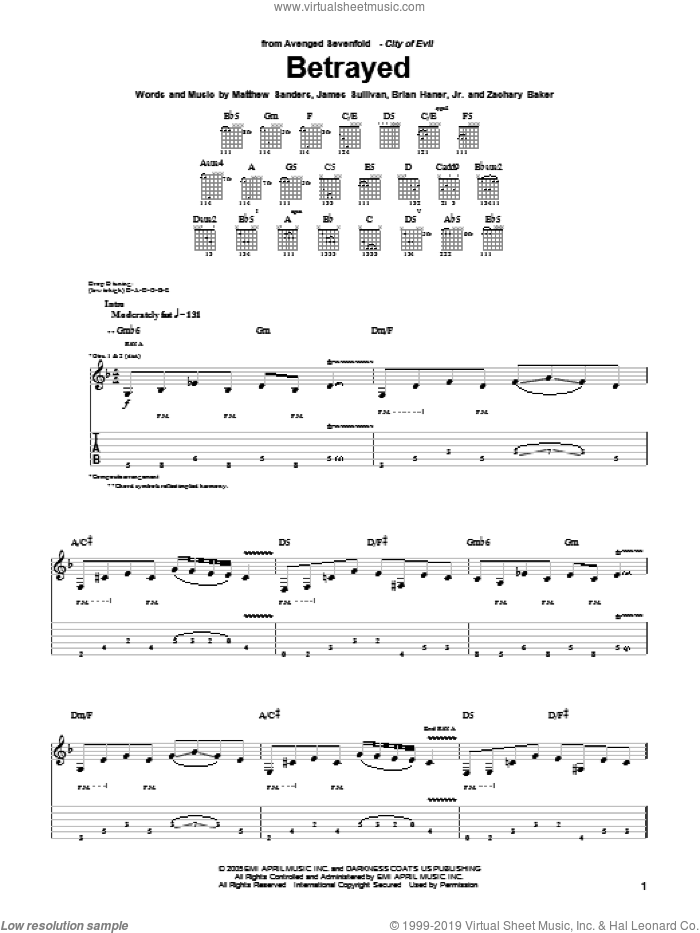 Betrayed sheet music for guitar (tablature) by Avenged Sevenfold, Brian Haner, Jr., James Sullivan, Matthew Sanders and Zachary Baker, intermediate skill level