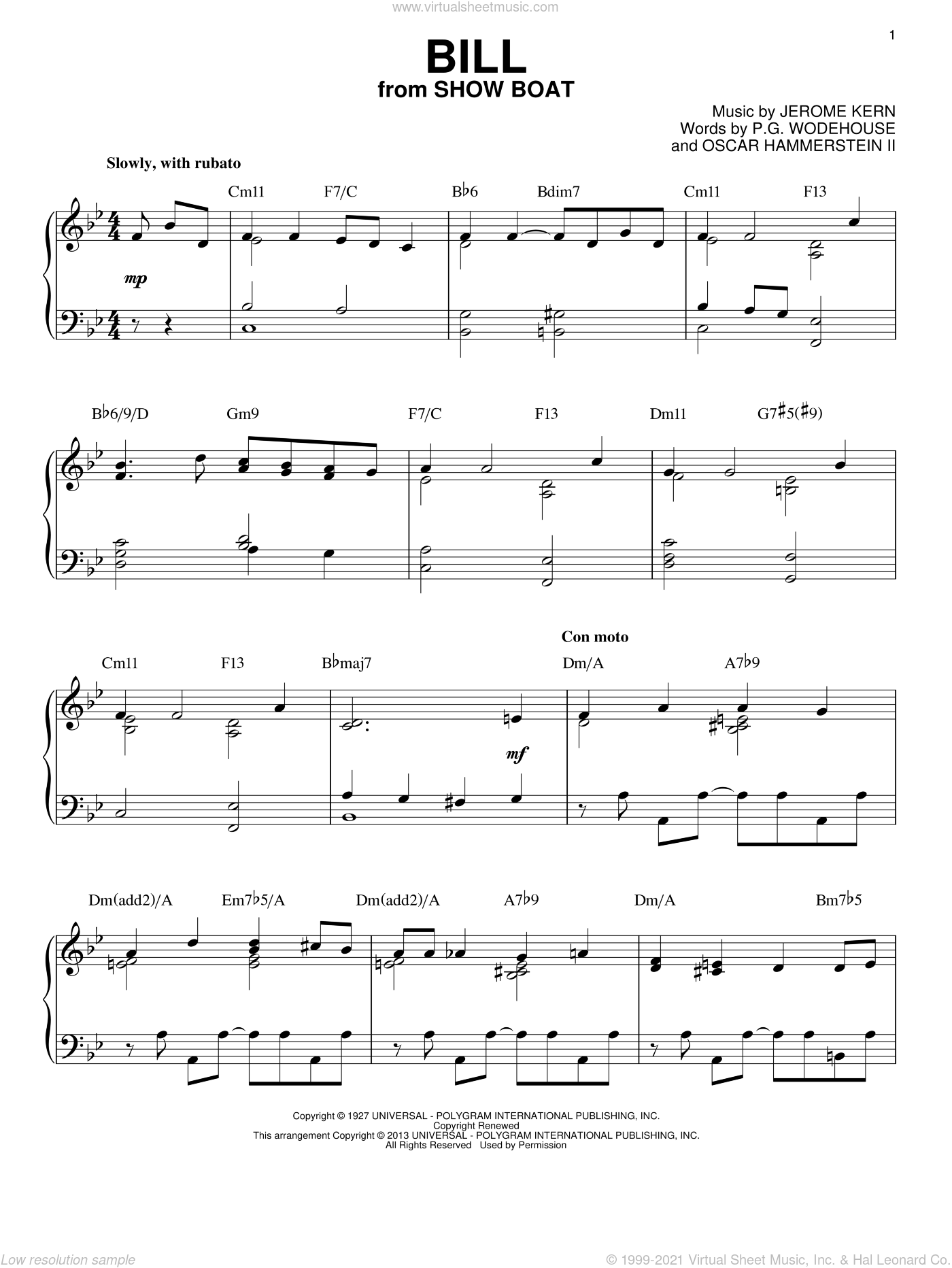 Bill sheet music for piano solo by Oscar II Hammerstein and P.G. Wodehouse, intermediate skill level
