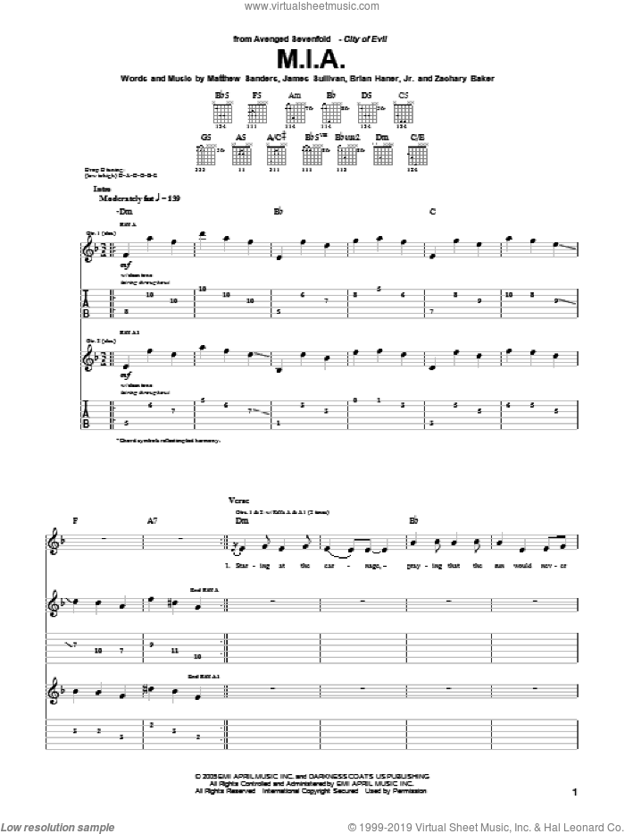 M.I.A. sheet music for guitar (tablature) by Zachary Baker and Avenged Sevenfold. Score Image Preview.