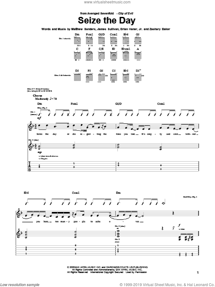 Seize The Day sheet music for guitar (tablature) by Avenged Sevenfold, Brian Haner, Jr., James Sullivan, Matthew Sanders and Zachary Baker, intermediate skill level