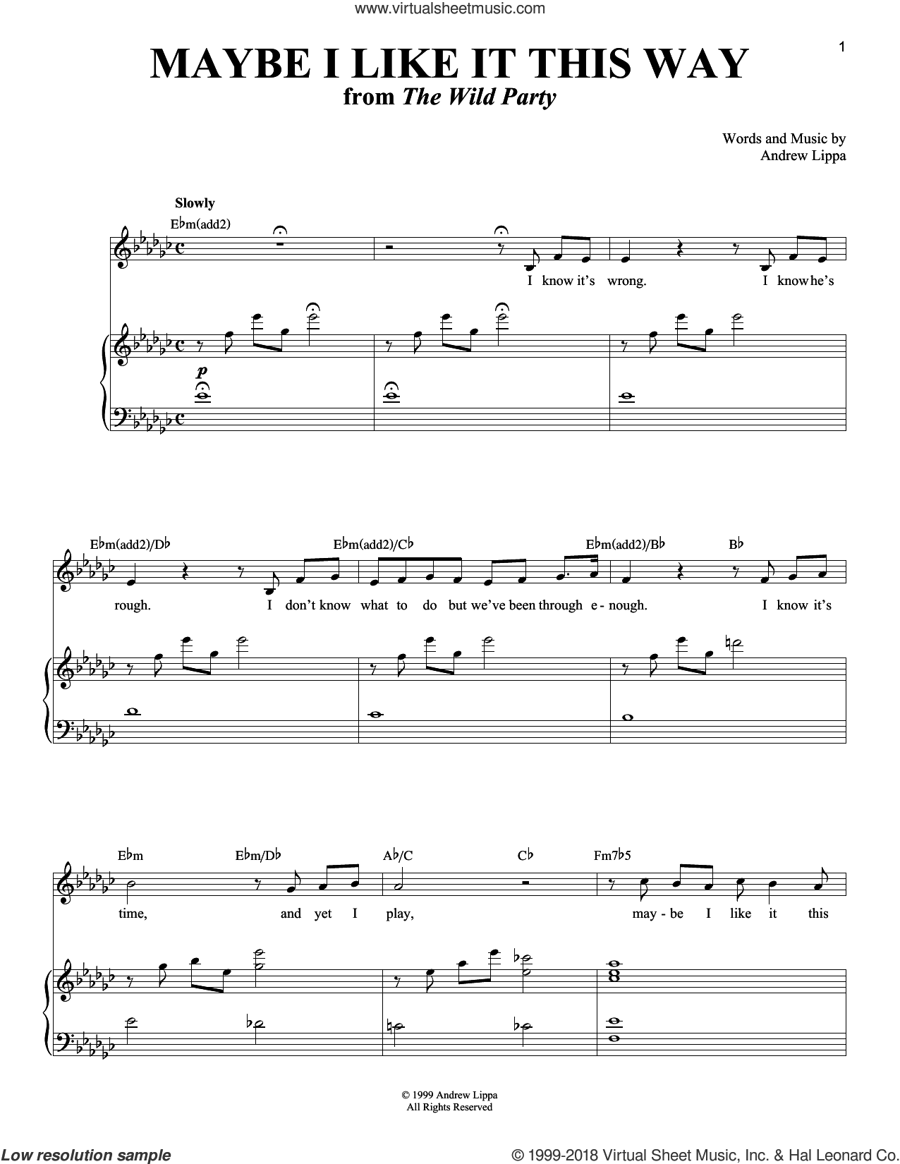 Maybe I Like It This Way sheet music for voice and piano by Andrew Lippa, intermediate skill level