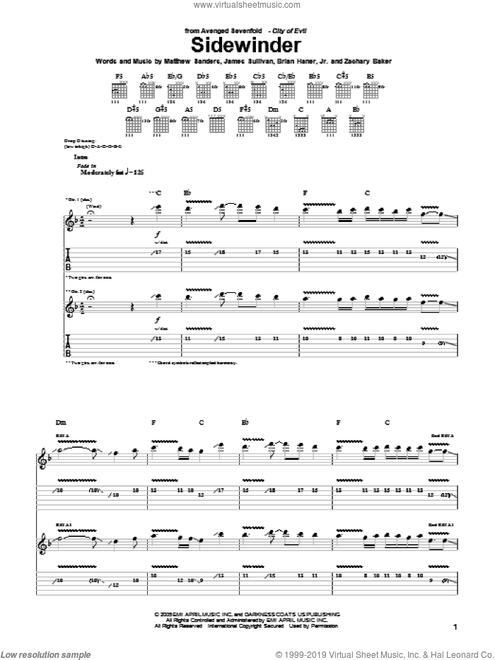 Sidewinder sheet music for guitar (tablature) by Avenged Sevenfold, Brian Haner, Jr., James Sullivan, Matthew Sanders and Zachary Baker, intermediate skill level