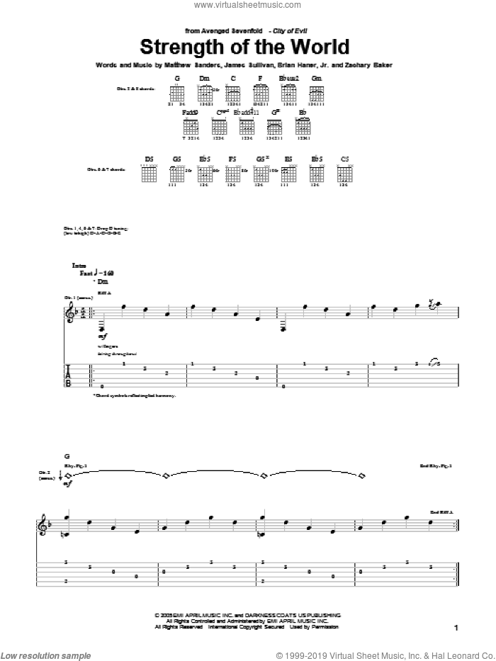 Strength Of The World sheet music for guitar (tablature) by Zachary Baker and Avenged Sevenfold. Score Image Preview.