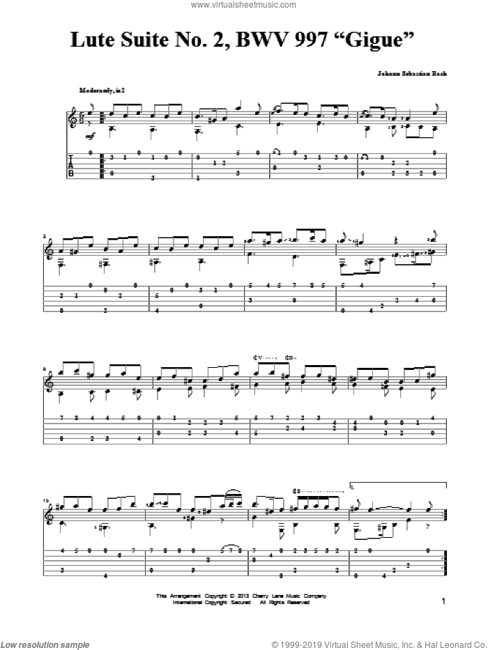 Lute Suite No. 2, BWV 997 'Gigue' sheet music for guitar solo by Johann Sebastian Bach, classical score, intermediate skill level