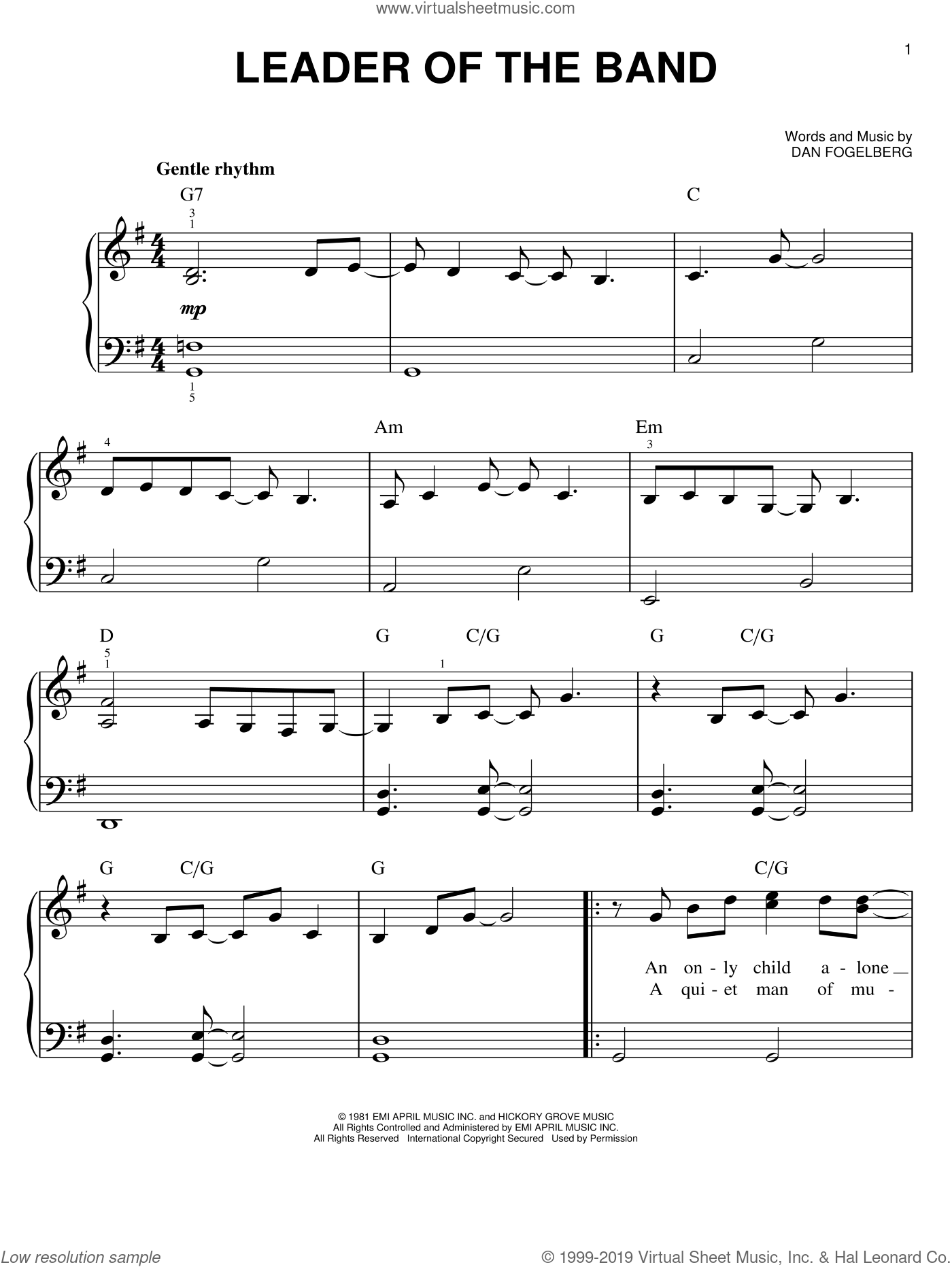 Leader Of The Band sheet music for piano solo by Dan Fogelberg. Score Image Preview.