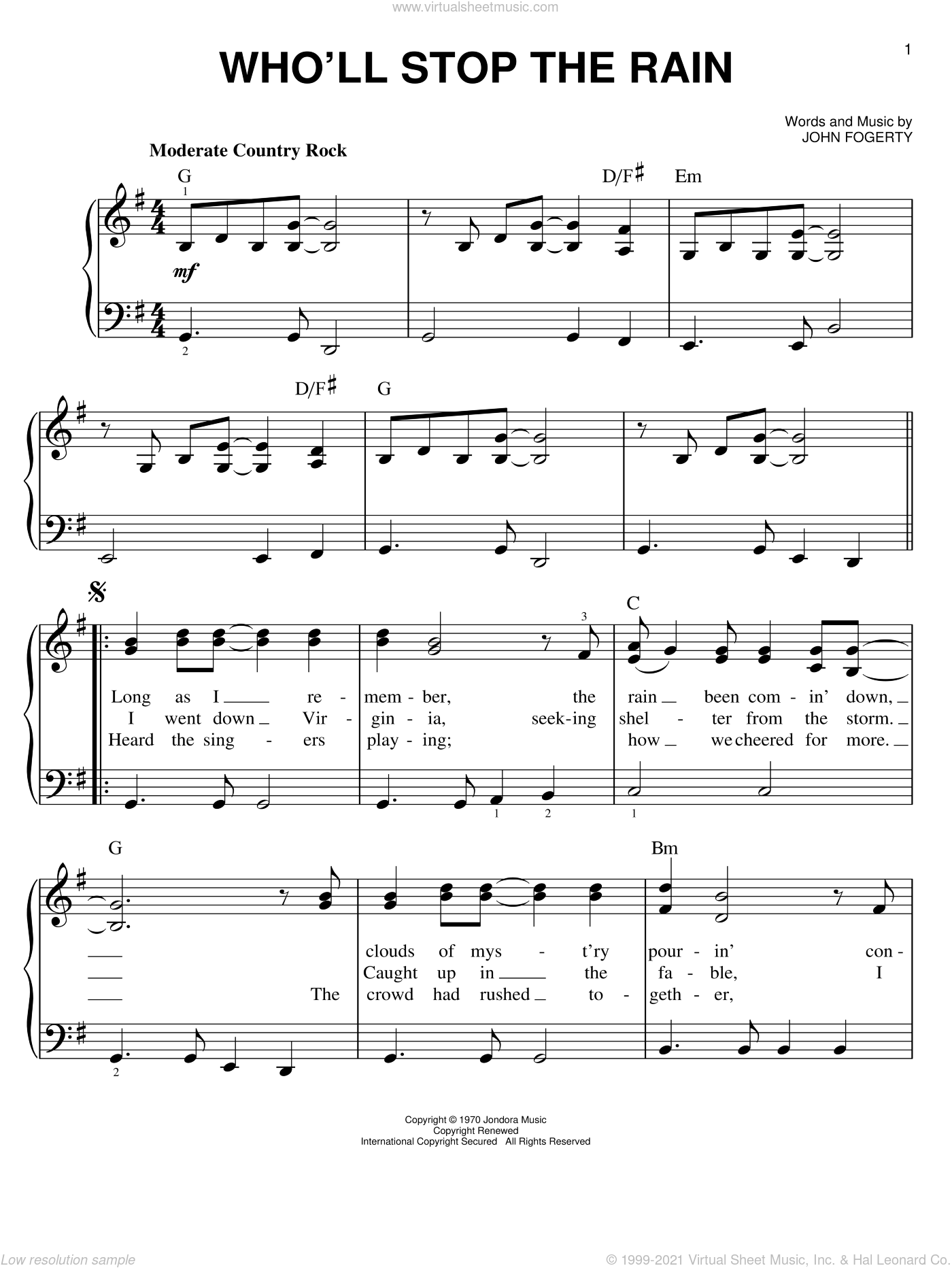 Who'll Stop The Rain sheet music for piano solo by Creedence Clearwater Revival, easy skill level