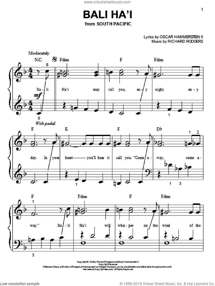 Bali Ha'i sheet music for piano solo (big note book) by Rodgers & Hammerstein, Oscar Hammerstein and Richard Rodgers, easy piano (big note book)