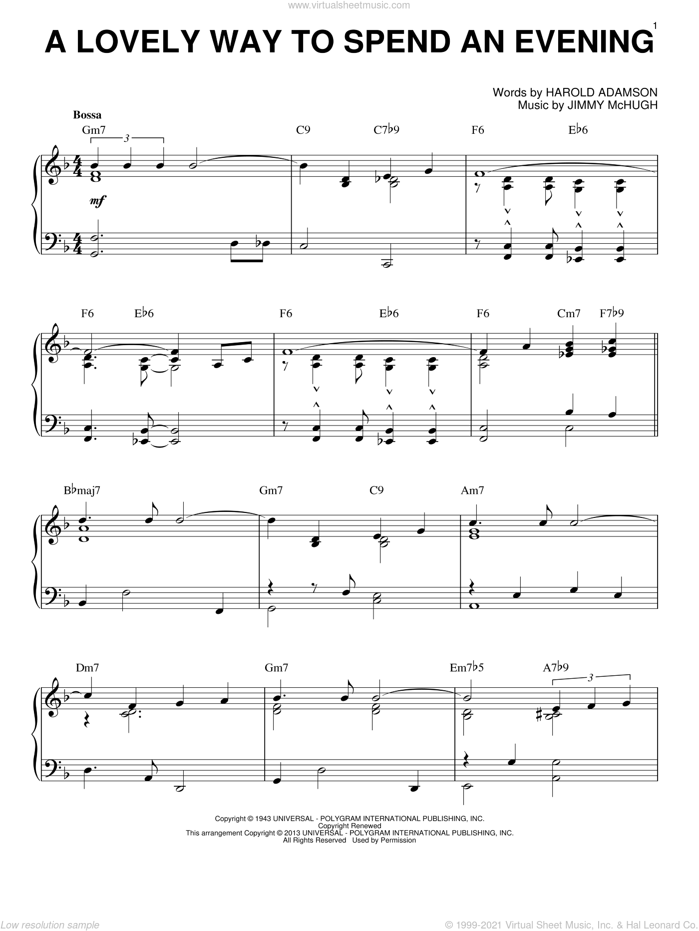 A Lovely Way To Spend An Evening (arr. Brent Edstrom) sheet music for piano solo by Frank Sinatra, Harold Adamson and Jimmy McHugh, intermediate skill level