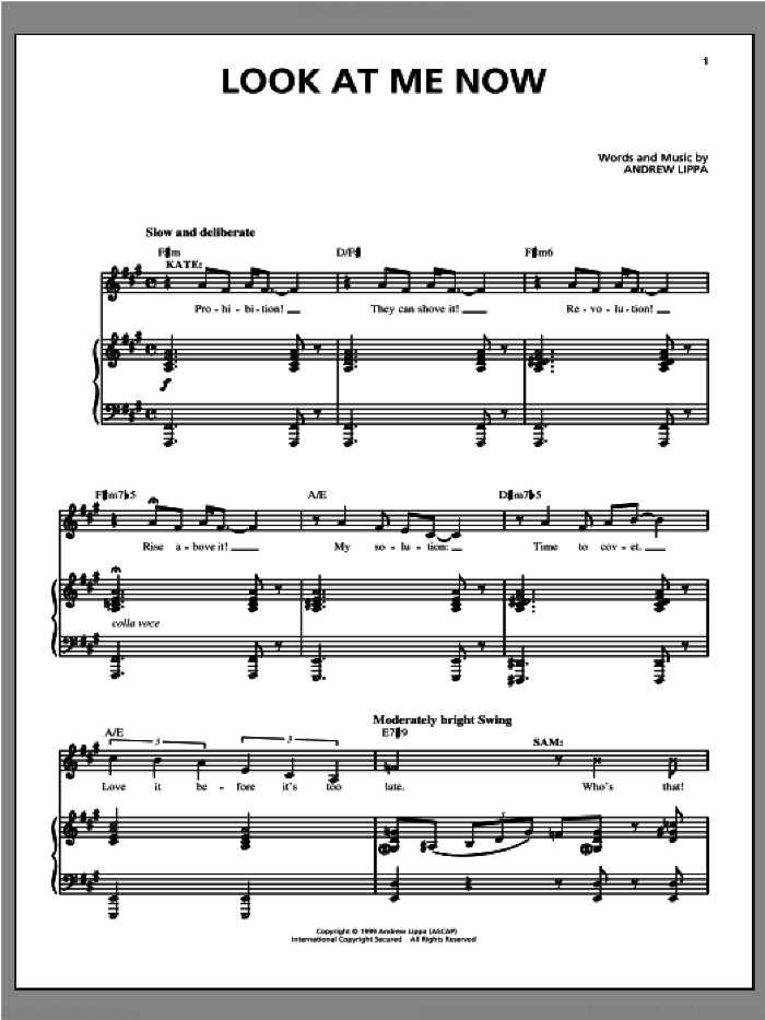 Look At Me Now sheet music for voice, piano or guitar by Andrew Lippa, classical score, intermediate skill level