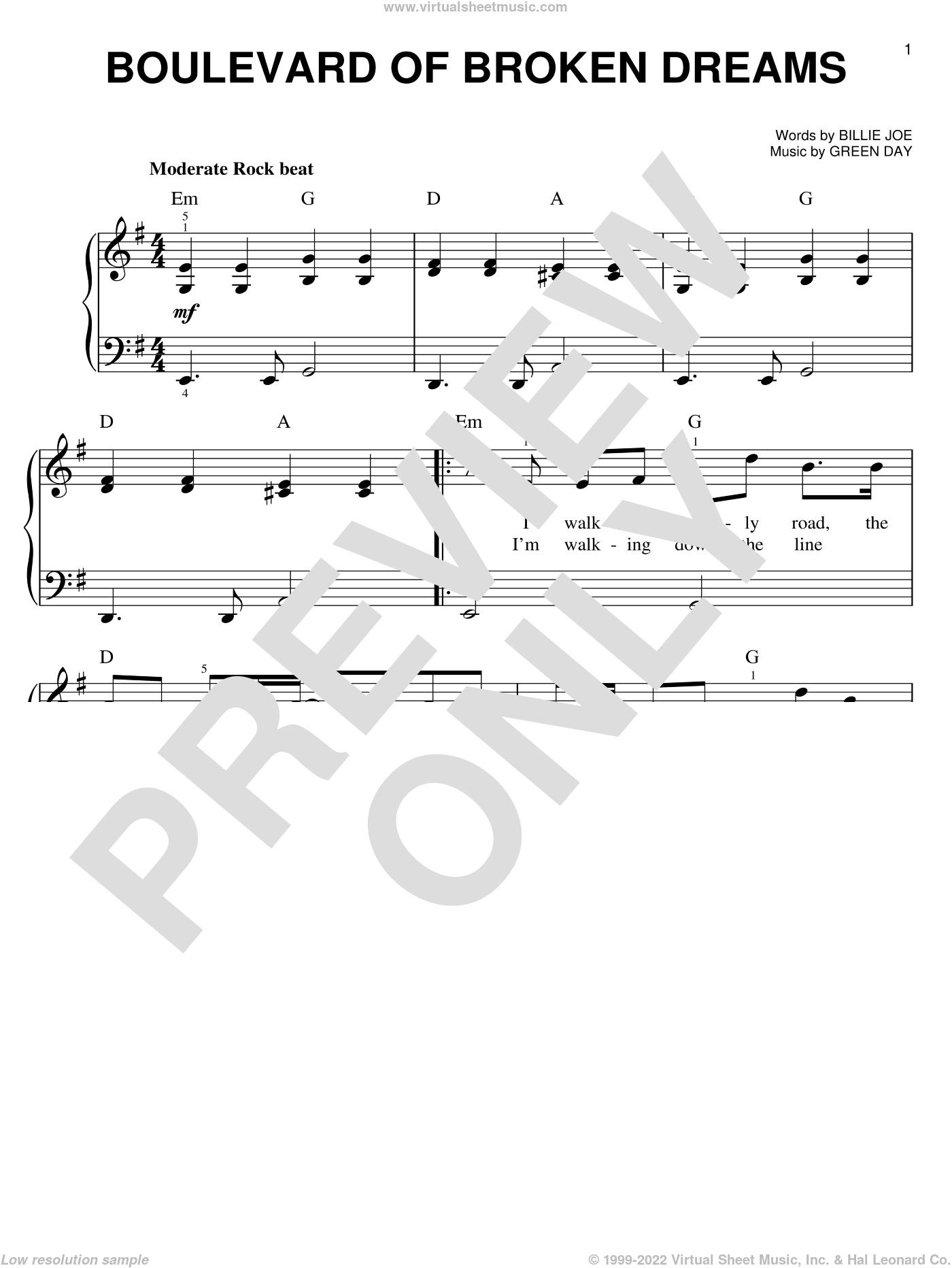 Boulevard Of Broken Dreams sheet music for piano solo by Green Day, easy skill level