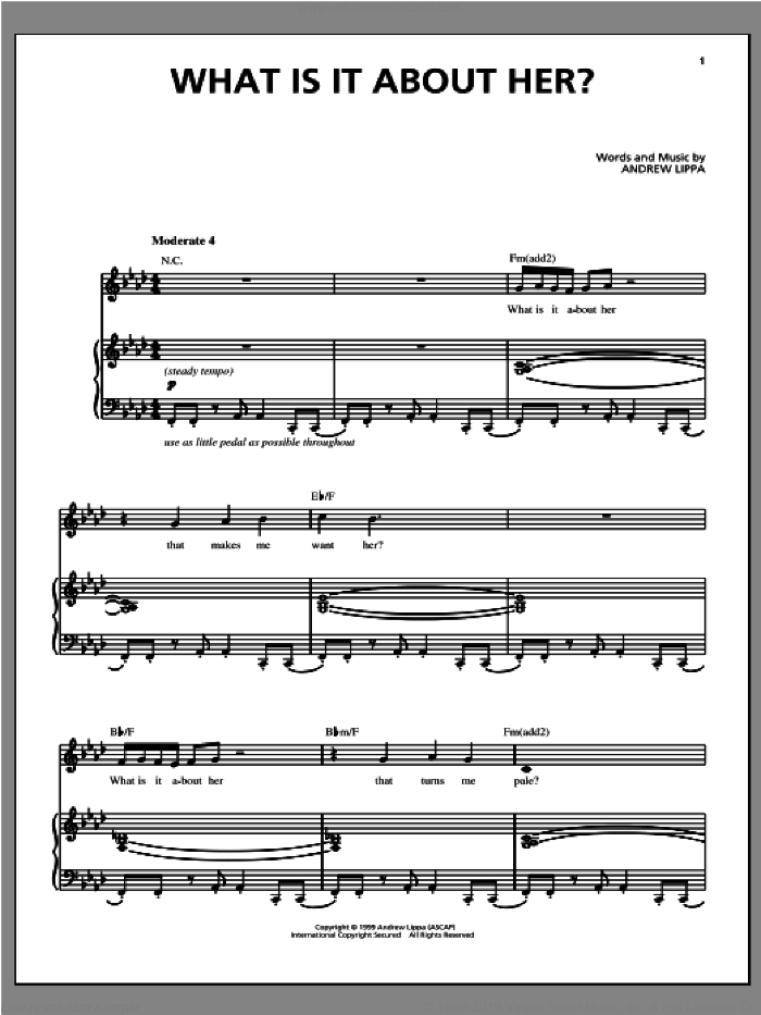 What Is It About Her? sheet music for voice, piano or guitar by Andrew Lippa, intermediate skill level