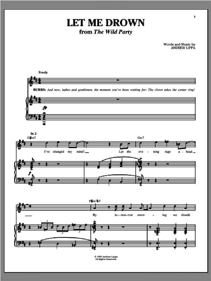Let Me Drown sheet music for voice, piano or guitar by Andrew Lippa, intermediate skill level