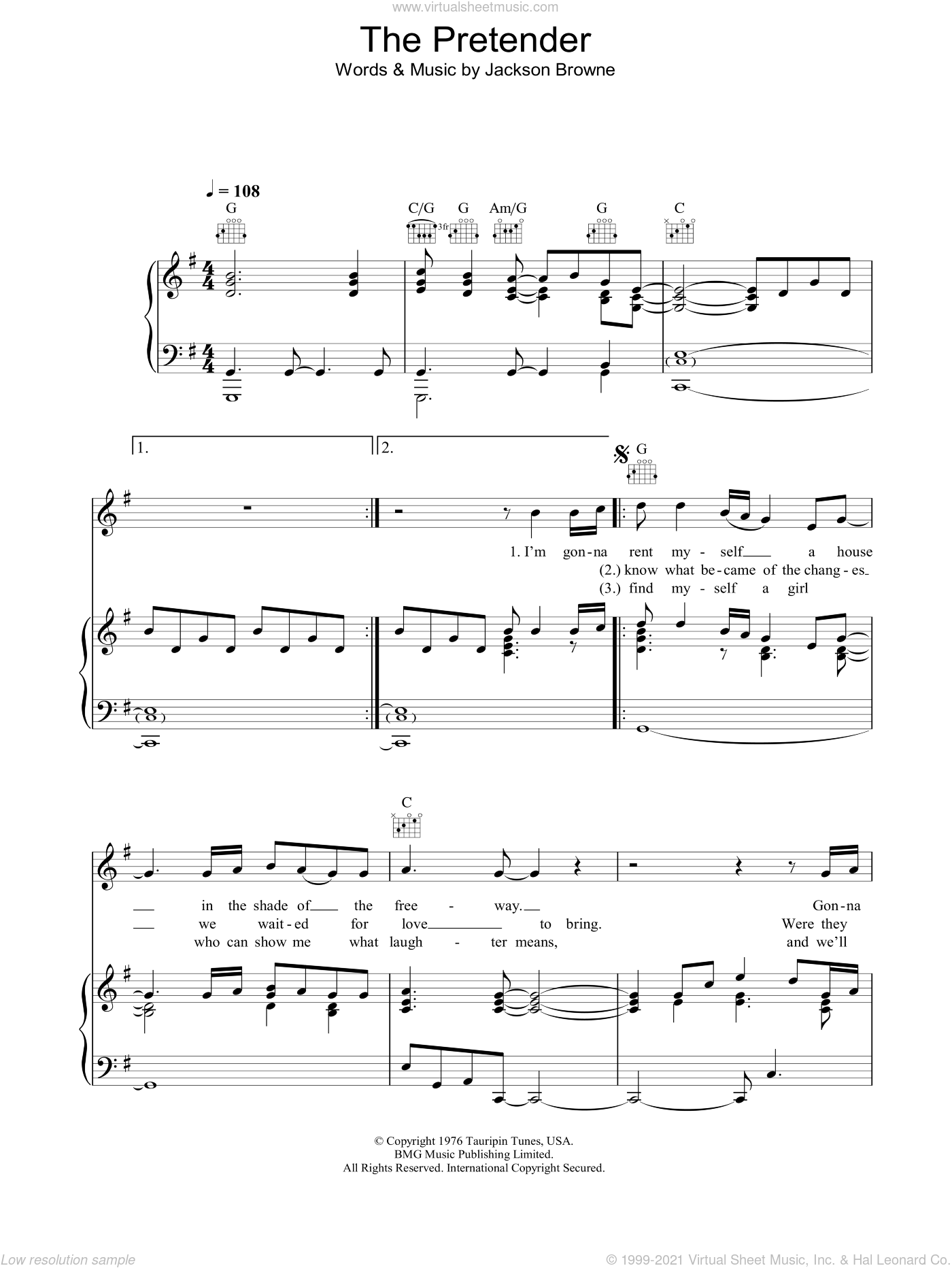 The Pretender sheet music for voice, piano or guitar by Jackson Browne, intermediate skill level