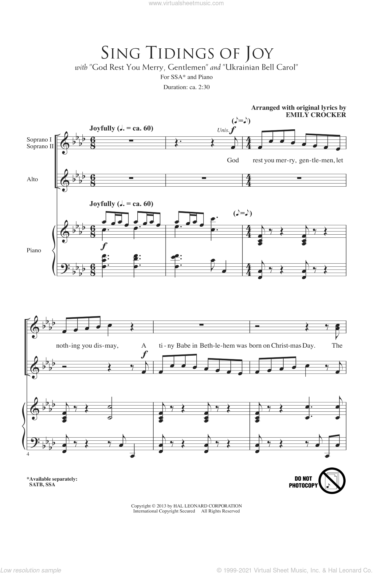 Sing Tidings Of Joy sheet music for choir and piano (SSA) by Emily Crocker