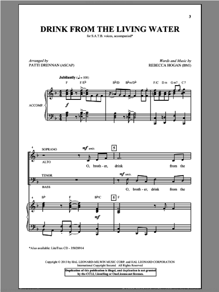Drink From The Living Water sheet music for choir (SATB) by Patti Drennan, intermediate choir (SATB). Score Image Preview.