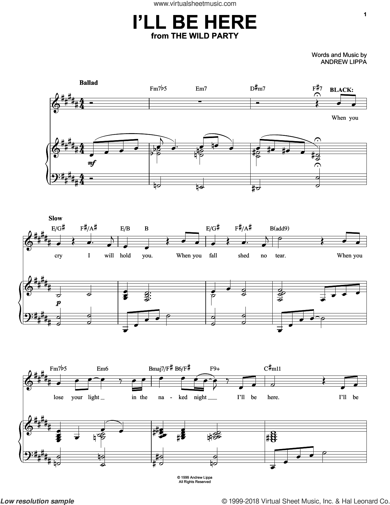 I'll Be Here sheet music for voice, piano or guitar by Andrew Lippa, intermediate skill level