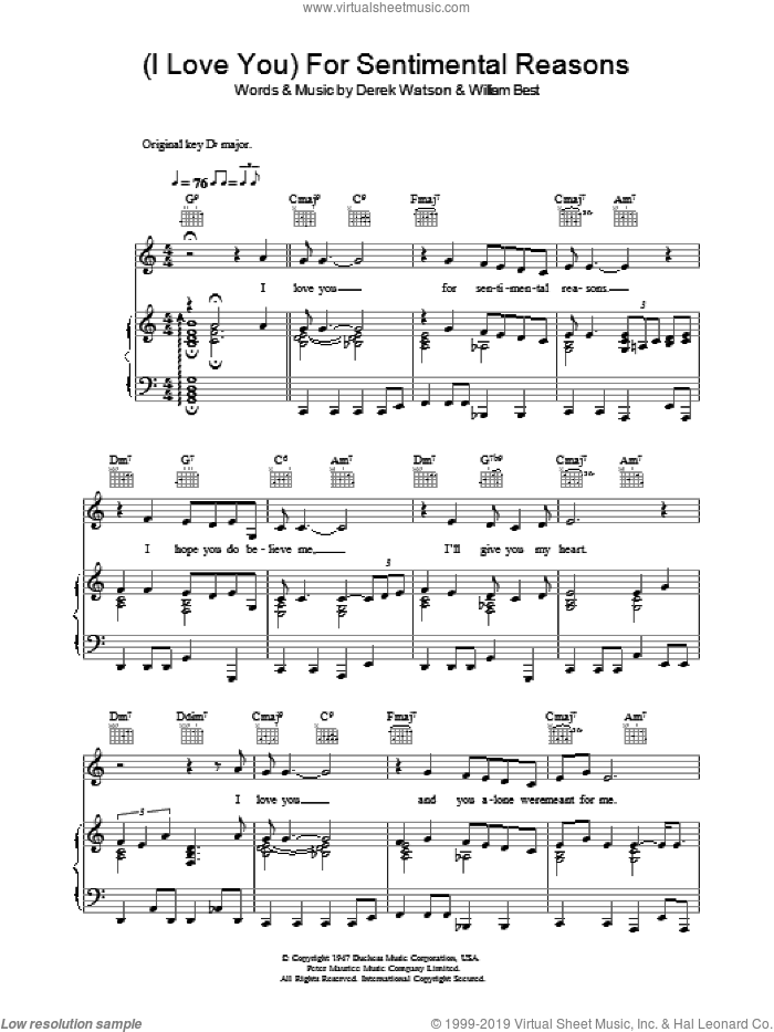(I Love You) For Sentimental Reasons sheet music for voice, piano or guitar by William Best and Nat King Cole. Score Image Preview.