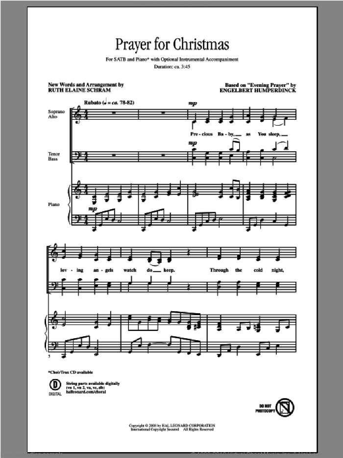 Prayer For Christmas sheet music for choir (SATB: soprano, alto, tenor, bass) by Ruth Elaine Schram and Engelbert Humperdinck, intermediate