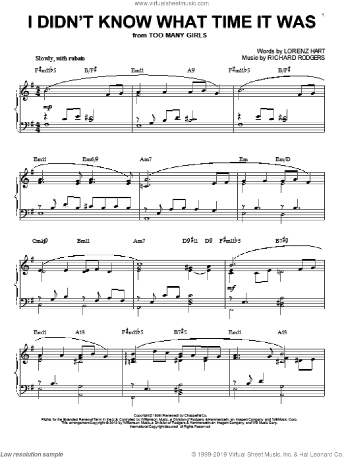 I Didn't Know What Time It Was sheet music for piano solo by Rodgers & Hart, Lorenz Hart and Richard Rodgers, intermediate skill level