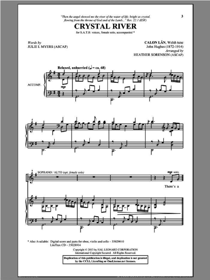 Crystal River sheet music for choir and piano (SATB) by Heather Sorenson and Julie I. Myers. Score Image Preview.
