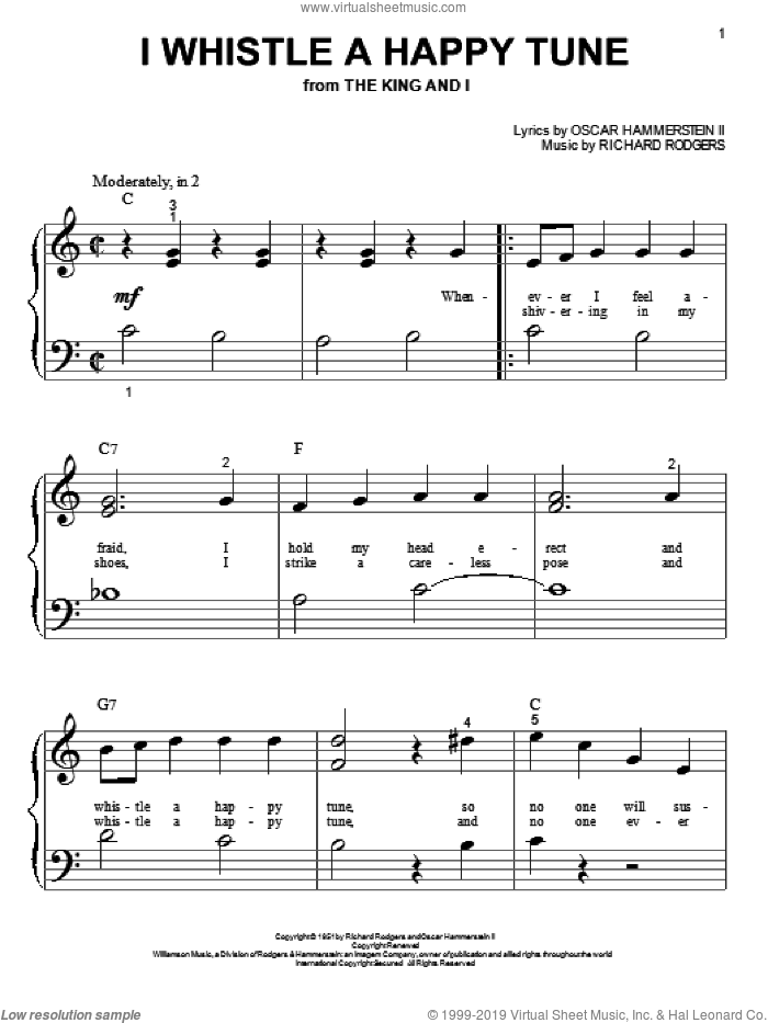I Whistle A Happy Tune sheet music for piano solo (big note book) by Rodgers & Hammerstein, Oscar Hammerstein and Richard Rodgers. Score Image Preview.