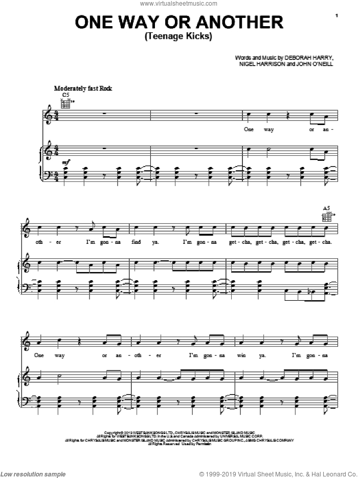 One Way Or Another (Teenage Kicks) sheet music for voice, piano or guitar by One Direction, intermediate skill level