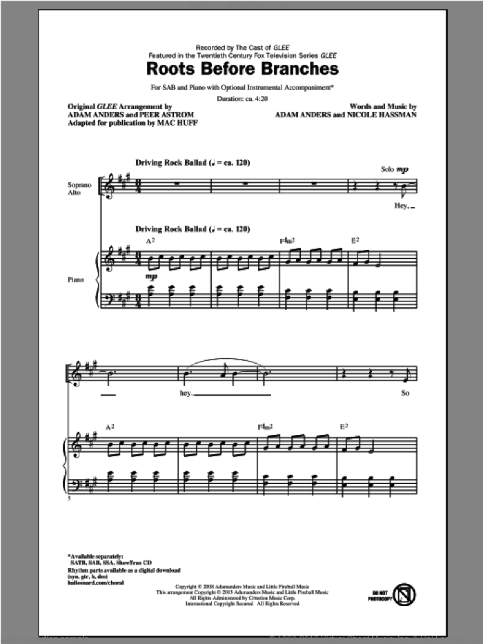 Roots Before Branches sheet music for choir (SAB: soprano, alto, bass) by Mac Huff and Glee Cast, intermediate skill level