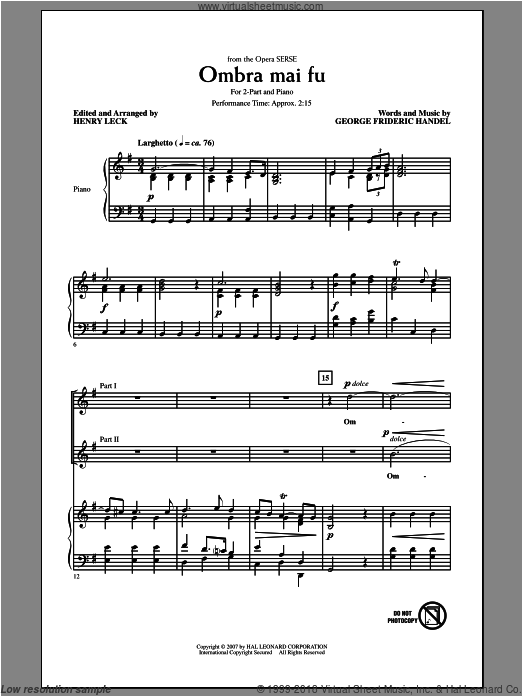 Ombra Mai Fu sheet music for choir and piano (duets) by George Frideric Handel and Henry Leck. Score Image Preview.