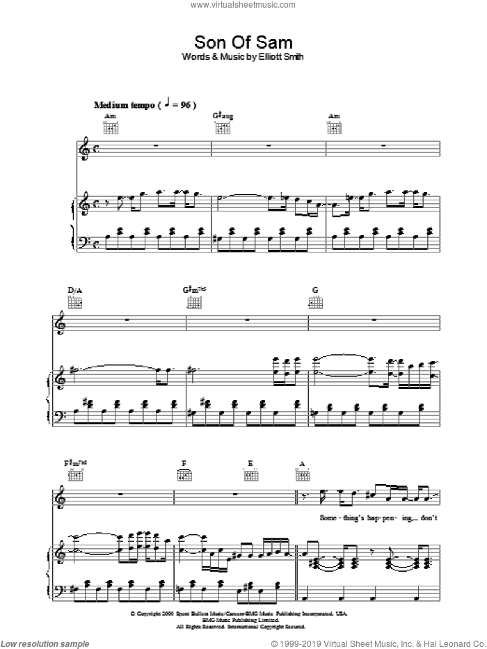 Son Of Sam sheet music for voice, piano or guitar by Elliot Smith and Elliott Smith, intermediate. Score Image Preview.