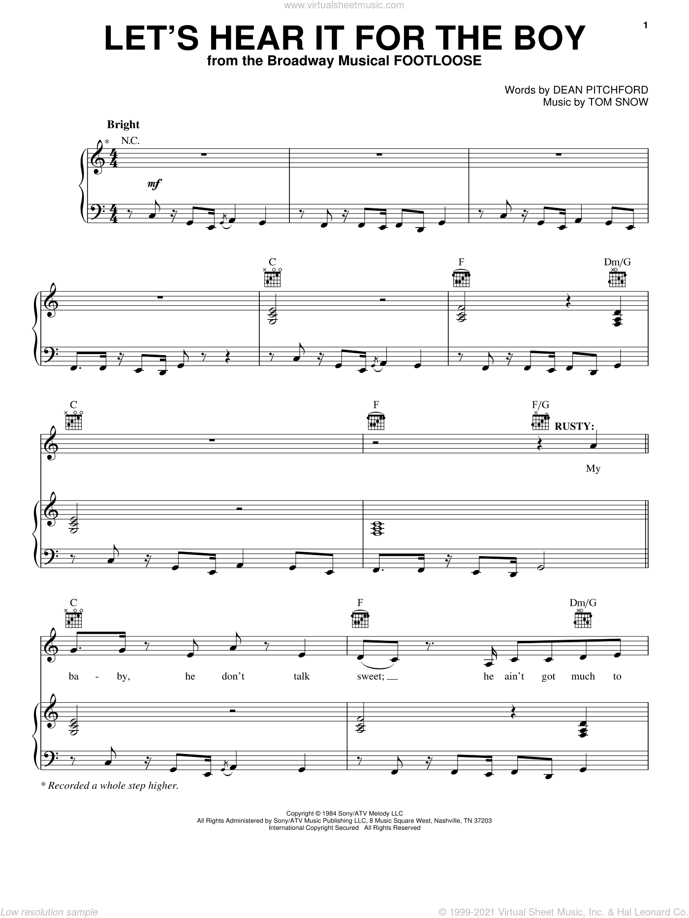 Let's Hear It For The Boy sheet music for voice, piano or guitar by Deniece Williams, Footloose (Movie), Footloose (Musical), Dean Pitchford and Tom Snow, intermediate skill level