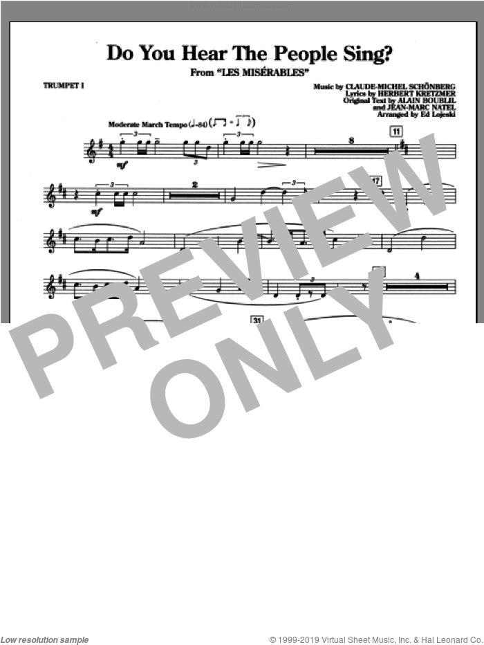 Do You Hear the People Sing? (complete set of parts) sheet music for orchestra/band by Alain Boublil, Claude-Michel Schonberg, Herbert Kretzmer and Ed Lojeski, intermediate. Score Image Preview.