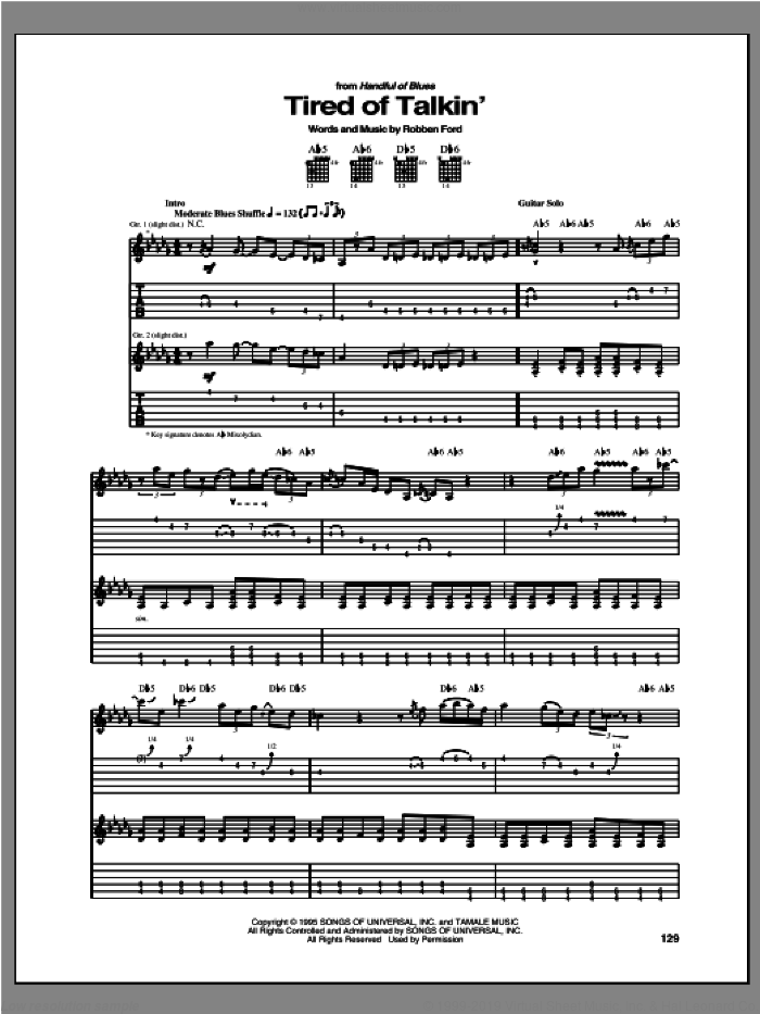 Tired Of Talkin' sheet music for guitar (tablature) by Robben Ford