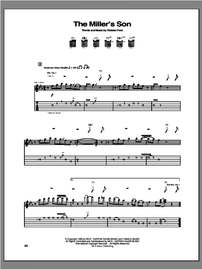 The Miller's Son sheet music for guitar (tablature) by Robben Ford. Score Image Preview.