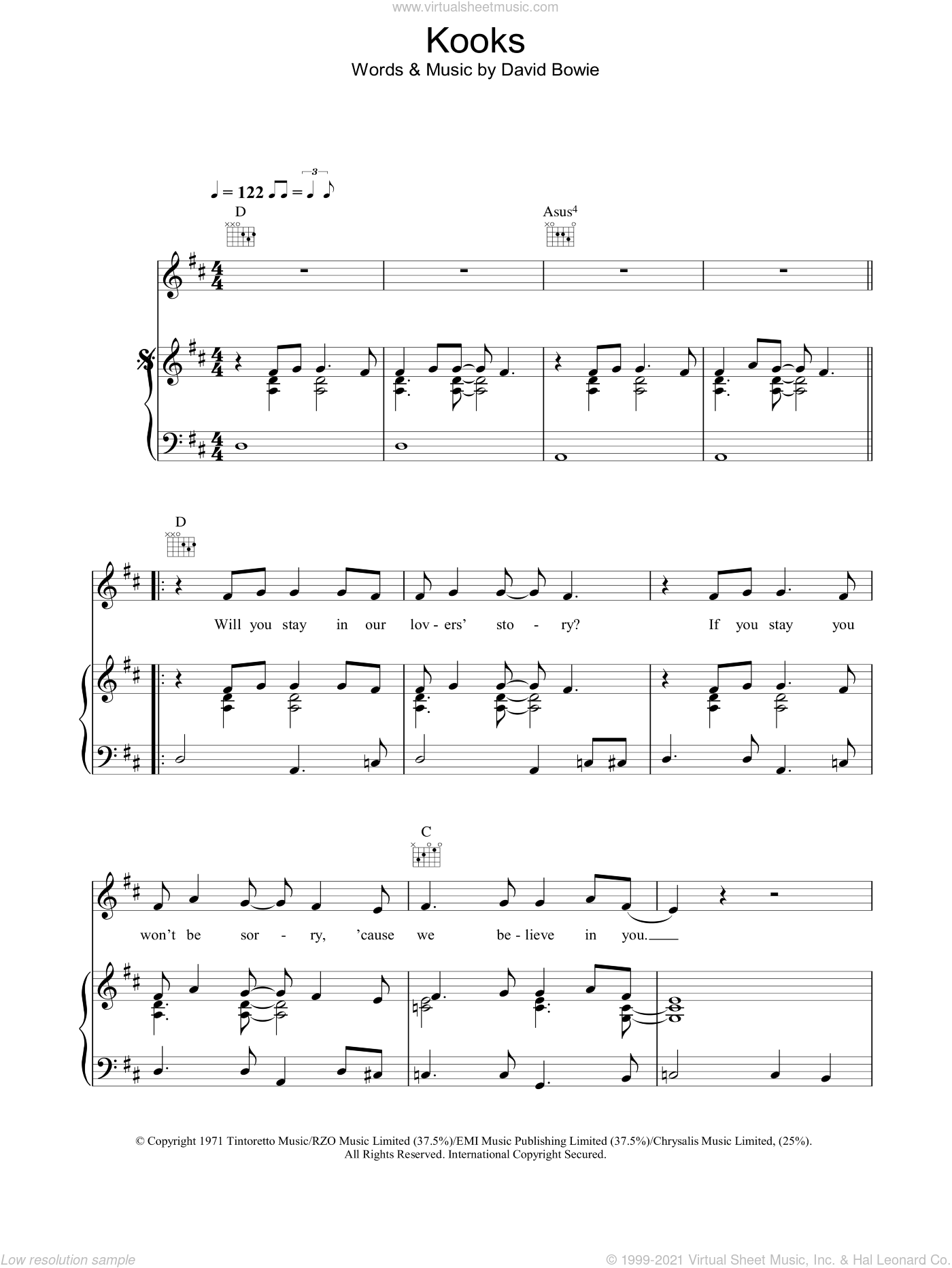 Kooks sheet music for voice, piano or guitar by David Bowie