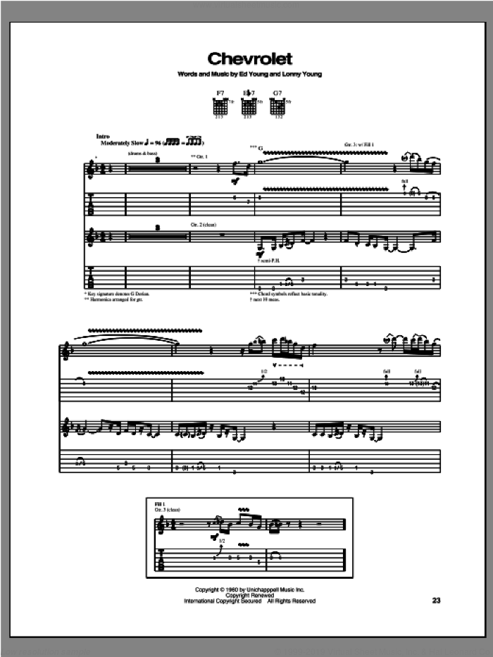 Chevrolet sheet music for guitar (tablature) by Robben Ford. Score Image Preview.