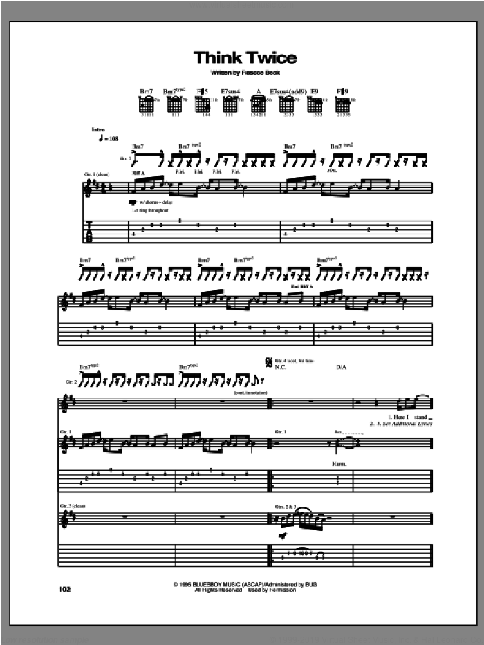 Think Twice sheet music for guitar (tablature) by Robben Ford, intermediate skill level