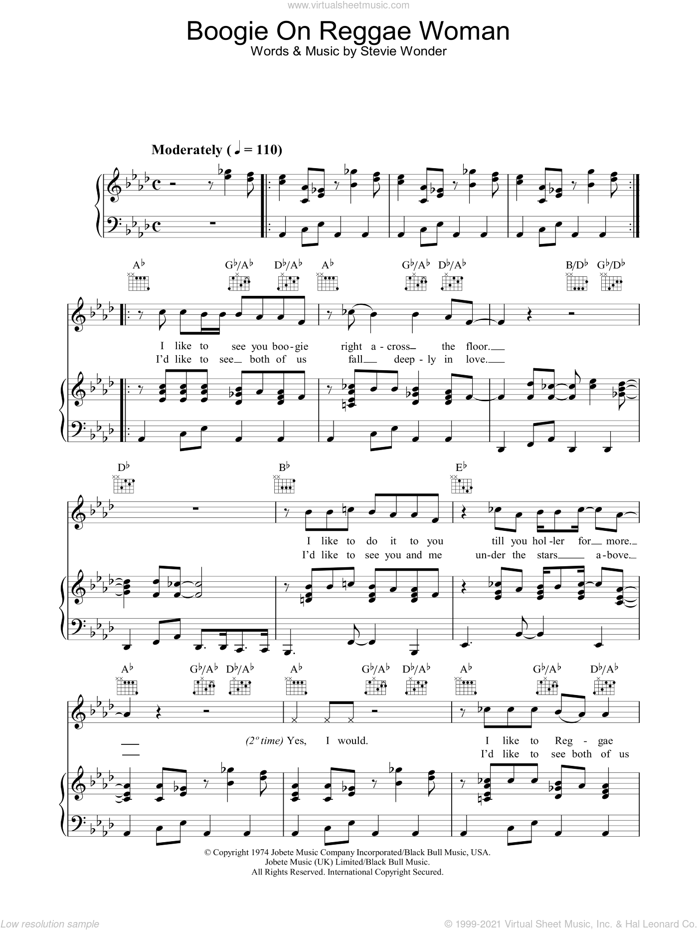 Boogie On Reggae Woman sheet music for voice, piano or guitar by Stevie Wonder. Score Image Preview.