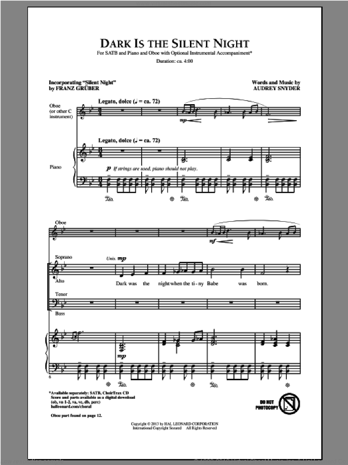 Dark Is The Silent Night sheet music for choir (SATB: soprano, alto, tenor, bass) by Audrey Snyder, intermediate
