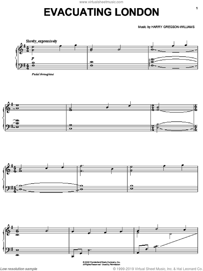 Evacuating London sheet music for voice, piano or guitar by Harry Gregson-Williams. Score Image Preview.