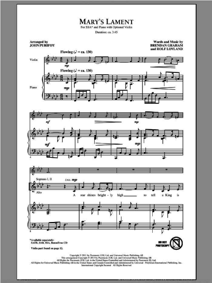 Mary's Lament sheet music for choir (SSA: soprano, alto) by John Purifoy, Brendan Graham and Rolf Lovland, intermediate