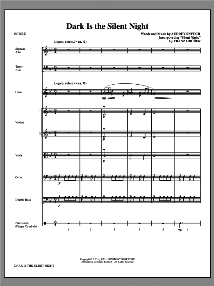Dark Is the Silent Night (COMPLETE) sheet music for orchestra/band by Audrey Snyder, intermediate skill level