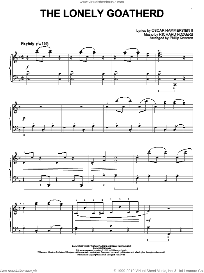 The Lonely Goatherd sheet music for piano solo by Phillip Keveren and Rodgers & Hammerstein. Score Image Preview.