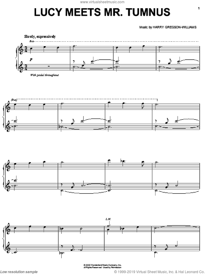 Lucy Meets Mr. Tumnus sheet music for voice, piano or guitar by Harry Gregson-Williams. Score Image Preview.