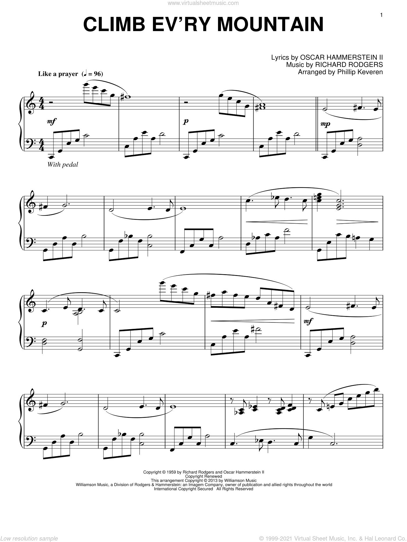 Climb Ev'ry Mountain sheet music for piano solo by Phillip Keveren and Rodgers & Hammerstein. Score Image Preview.